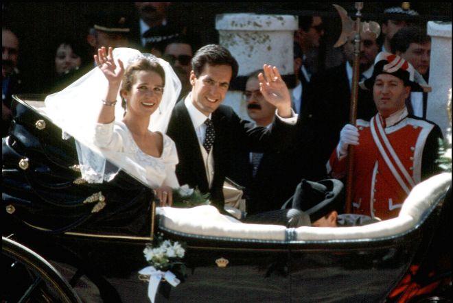La pareja, en la carroza que les paseó por las calles de Sevilla.