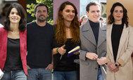 Isa Serra, Alberto Garzón, Noelia Vera, Albert Rivera e Inés Arrimadas.
