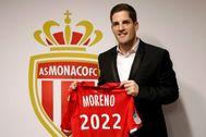 Moreno, con la camiseta del Mónaco en el estadio Louis II.