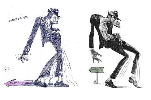 Resbalando hacia atrás, un pie a continuación del otro, con uno siempre pegado al suelo, como el bailarín truco popularizado por Michael Jackson.