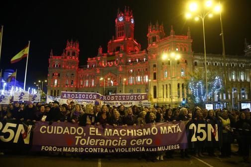 Manifestación contra la violencia machista celebrada en Madrid el...