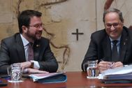 Antonio Moreno 17.12.2019 Barcelona Cataluña.El president Quim <HIT>Torra</HIT> y el vicepresidente Pere <HIT>Aragonés</HIT> en la reunión del Govern.