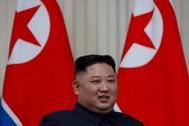 El líder norcoreano Kim Jong-un durante un encuentro con Vladimir Putin.