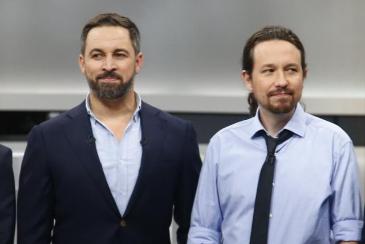 Santiago Abascal y Pablo Iglesias, en el debate electoral celebrado el 4 de noviembre.