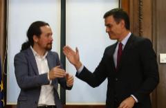 El líder de Unidas Podemos, Pablo Iglesias, y el presidente del Gobierno en funciones, Pedro Sánchez.