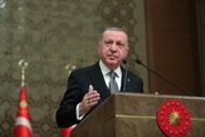 El presidente turco, Recep Tayyip Erdogan, comparece en un acto en Ankara.