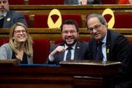 Elsa Artadi, Pere Aragonés y Quim Torra en el Parlament