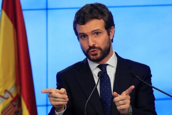 Pablo Casado, líder del PP, durante una intervención en la sede del...