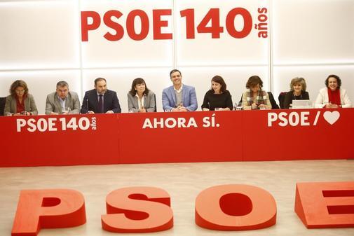 Pedro Sánchez, en la reunión de la Ejecutiva del PSOE.