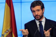 Pablo Casado, líder del PP, durante una intervención en la sede del partido.