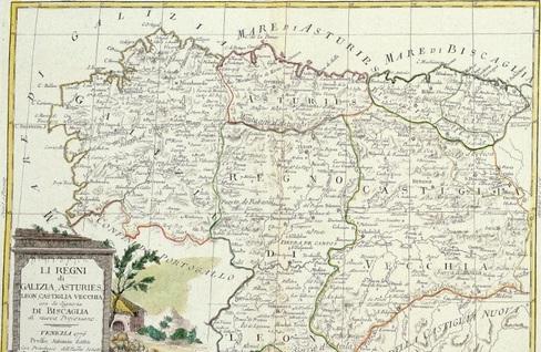 Mapa de 1776 en el que se aprecia, en el centro, el Reino de León.