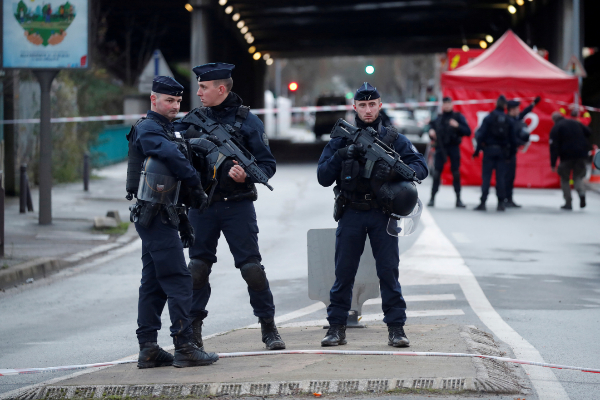 FILE PHOTO: French police secure an area after a knife attack in a...