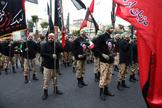 Milicias iraníes en el funeral del general Soleimani, en Teheran.