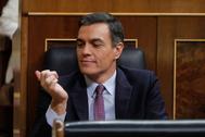 Pedro Sánchez durante la primera sesión del debate de investidura celebrado este sábado en el Congreso.