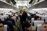 Soldados de la 82 división aerotransportada, recién embarcados hacia Irak.