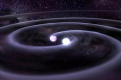 Recreación artística de la fusión de dos estrellas de neutrones
