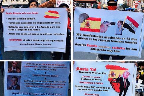 Así se manifiesta Irak (con carteles de Abdelrahman) contra la España de ayer (Aznar) ...y también la de hoy (Sánchez)