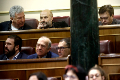 De izqda. a dcha., los diputados Pedro Quevedo (Nueva Canarias), Néstor Rego (BNG) y Tomás Guitarte (Teruel Existe).
