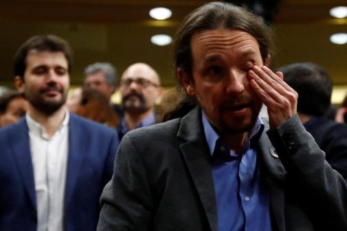 Pablo Iglesias, emocionado tras la votación.