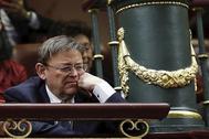 El presidente de la Generalitat, Ximo Puig, durante la sesión de investidura del Congreso.