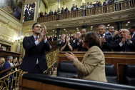 El secretario general del PSOE, Pedro Sánchez, este martes, tras ser elegido presidente del Gobierno.