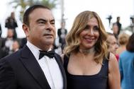 Carlos Ghosn y su mujer Carole en el Festival de Cannes de 2018.