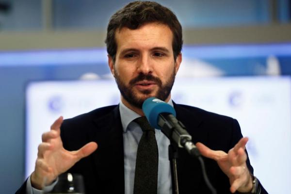 Pablo Casado, presidente del PP, durante la entrevista en la cadena...