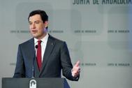 El presidente de la Junta, Juan Manuel Moreno, durante un discurso en San Telmo.