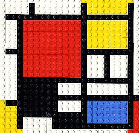Los colores originales que aparecieron en los primeros productos de LEGO -rojo, amarillo, azul, blanco y negro- estaban inspirados en las obras del pintor holandés Piet Mondrian.