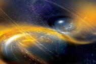 Ilustración de una fusión de estrellas de neutrones