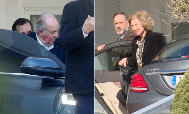 El Rey Juan Carlos y la Reina Sofía, en el centro hospitalario donde estaba ingresada la infanta Pilar.