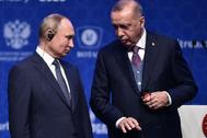 El presidente ruso, Vladimir Putin, y su homólogo turco, Recep Tayyip Erdogan, en Estambul.