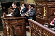 La portavoz parlamentaria de Bildu, Mertxe Aizpurua, durante su intervención en la sesión de investidura