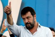 El líder de la Liga, Matteo Salvini, en una manifestación en Roma.