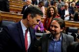 Pedro Sánchez y Pablo Iglesias, el pasado martes en el Congreso.