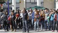 Estudiantes, durante una movilización sindical en la universidad Jaume I de Castellón.