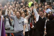 Pablo Iglesias y Juan Carlos Monedero, juntos en un acto de Podemos celebrado en marzo de 2019.
