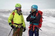 Ana Botín, junto a Jesús Calleja en Groenlandia.