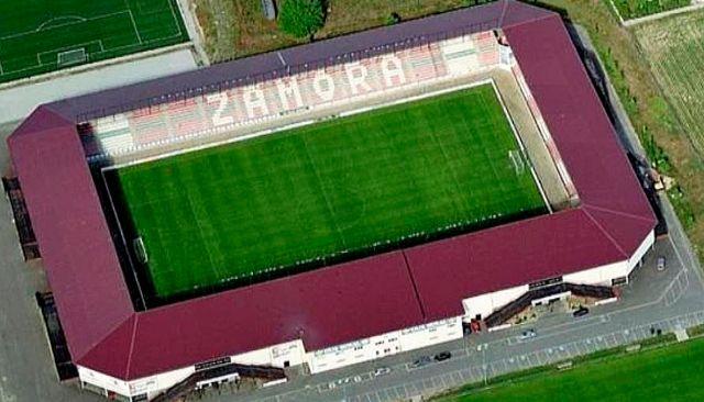 Imagen aérea del precioso estadio de la Ruta de la Plata, sede del Zamora CF. WEB ZAMORA CF