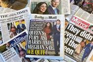 Los tabloides británicos ilustran sus portadas con fotografías e informaciones de Meghan y Harry.