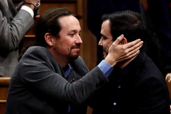 El líder de Unidas Podemos, Pablo Iglesias, y el líder de Izquierda...