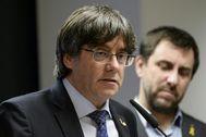 Carles Puigdemont y Toni Comín, en una comparecencia reciente en Bruselas.