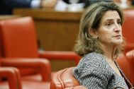 La ministra de Transición Ecológica, Teresa Ribera, durante su última intervención en el Congreso.