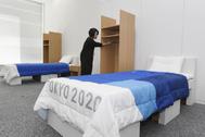 Las camas de cartón que acogerán a los deportistas en Tokio 2020.