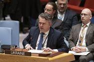El viceministro de Asuntos Exteriores de Ucrania, Sergiy Kyslytsya, en la ONU.