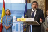 El nuevo ministro de Cultura, José Manuel Rodríguez Uribes, en su toma de posesión como delegado del Gobierno en Madrid.