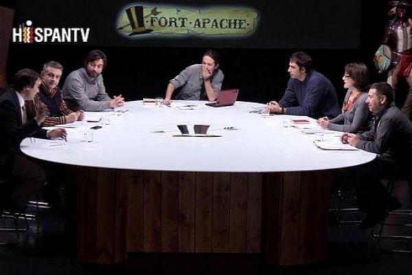 Pablo Iglesias presenta en la cadena iraní Hispan TV 'Fort Apache'.
