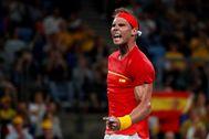 Nadal, tras ganar su partido al australiano De Miñaur.