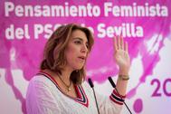 Susana Díaz, este sábado, en un acto del PSOE en Sevilla.