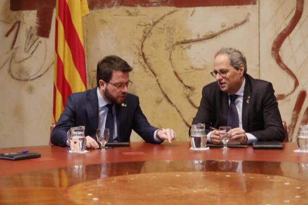 El vicepresidente catalán, Pere Aragonès (ERC), con el presidente...